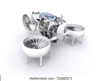 3D illustration of a hover bike