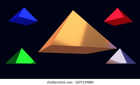 3d illustration of hovering glossy pyramids and a dark blue background