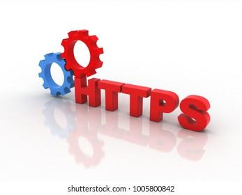 3d illustration HTTPS  with cogwheel gears