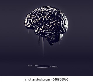 3d illustration of human brain made of oil, concept of petroleum mania