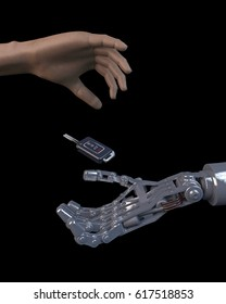 3D illustration of a human hand giving a modern car key to a robotic hand. Black background; futuristic vehicle driver assist concept.