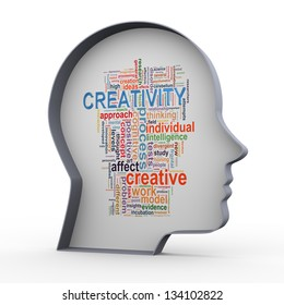 3d illustration of human head and wordcloud word tags of creativity and innovation.
