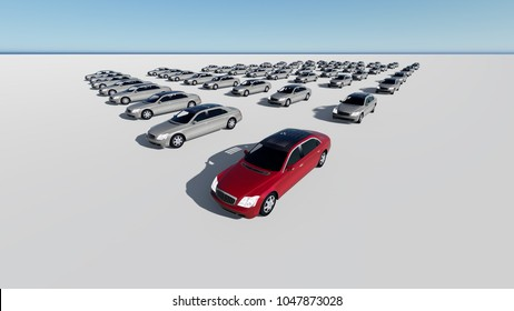 3d illustration of hundreds  cars, one red made in 3d software