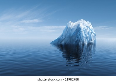 3d illustration of Iceberg under water as concept of GLOBAL WARMING