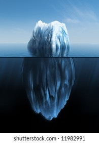 3d illustration of Iceberg under water and above water
