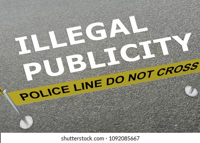3D illustration of ILLEGAL PUBLICITY title on the ground in a police arena