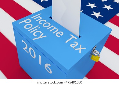 """3D illustration of """"Income Tax Policy"""", """"2016"""" scripts and on ballot box, with US flag as a background."""