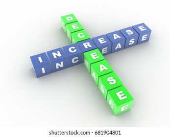 3d illustration Increase decrease Crossword