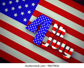 3d illustration: Independence Day United States of America