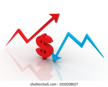3d illustration inflation and deflation graph with dollar sign