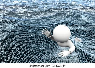 3D illustration - information overload