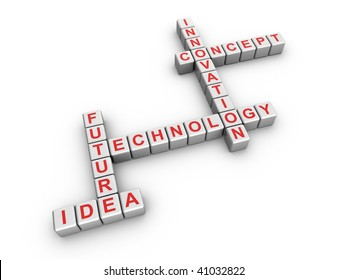 3d illustration of innovation related words on cubes, in a crossword style