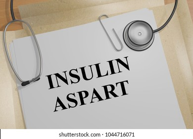3D illustration of INSULIN ASPART title on a medical document
