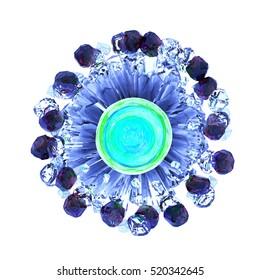 3d illustration interesting colourful Crystals Diamond