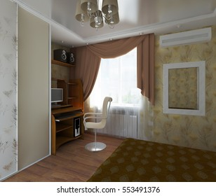 3D illustration the interior of a bedroom with a wardrobe and work space