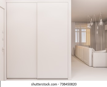 3d illustration of the interior design of an apartment in Scandinavian style. Architectural visualization of the interior hallway in white colors ambient occlusion