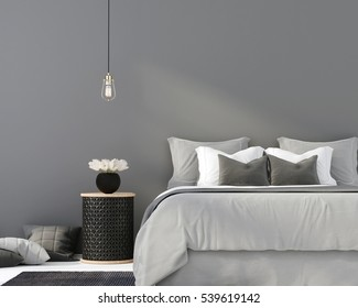 3D illustration. The interior of gray bedroom with a wooden table