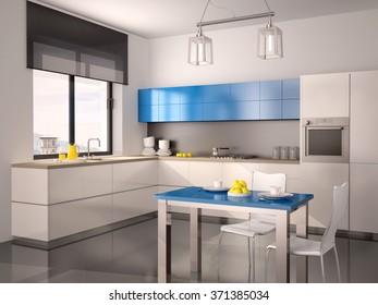 3d illustration of interior of modern kitchen in white blue gray tones