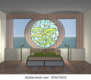3d illustration. Interior with stained-glass round window and sea view from the window. Right angle view.