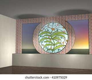 3d illustration. Interior with stained-glass round window and night sea view from the window. Left angle view from low point. Empty space. Mock up.