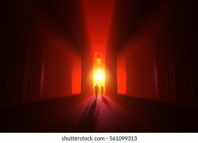 3D Illustration - Into the Light of Enlightenment