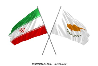 3d illustration of Iran and Cyprus crossed state flags waving