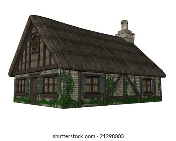 3D Illustration of an isolated cottage