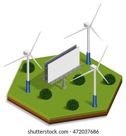3d illustration in isometric style of a windmills near the billboard on a green hexagonal base