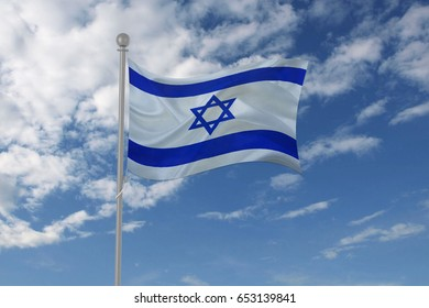 3d illustration of Israel flag waving in the sky