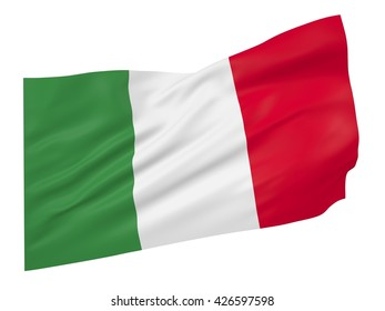 3D illustration of Italy flag