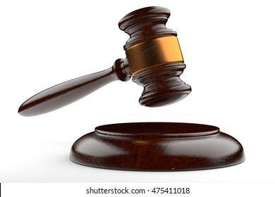 3d illustration judges gavel raised on white background