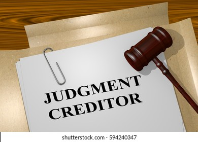 """3D illustration of """"JUDGMENT CREDITOR"""" title on legal document"""
