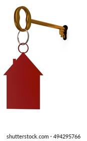 3d illustration key to open the door constipation wells