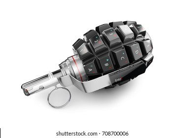 3d Illustration of Keyboard grenade concept, isolated white