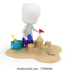 3D Illustration of a Kid Making a Sand Castle