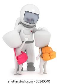 3D Illustration of Kids meeting an Astronaut