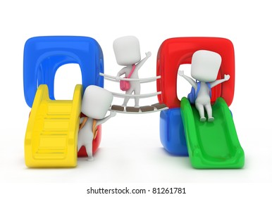 3D Illustration of Kids Playing in the Playground