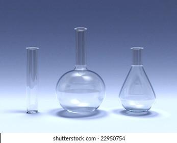 3d illustration of laboratory glassware over blue background