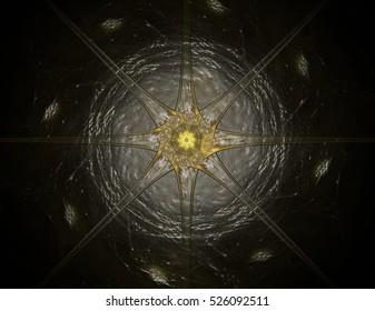 3D illustration lacy colorful clockwork pattern. 3D rendering digital fractal art design. Abstract design of sacred symbols signs geometry. Designs of astrology alchemy magic. Geometric Spiral.