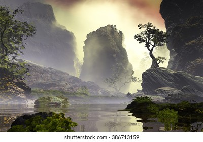 3D Illustration of landscape with fancy concept which highlights a large tree on a rock and big rocks in the background with vegetation covered up by an atmosphere clouded