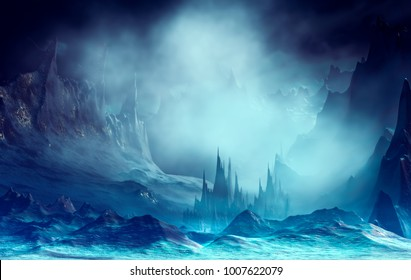 3D Illustration of landscape with fantasy concept with mountains and peaks in a very cloudy atmosphere
