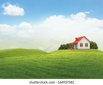 3d illustration of landscape with lawn with house and bushes