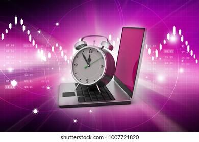 3d illustration of Laptop with alarm clock