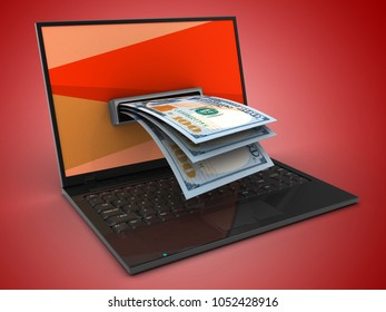 3d illustration of laptop computer over red background with red screen and banknotes