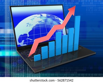 3d illustration of laptop computer over digital background with earth screen and rising charts