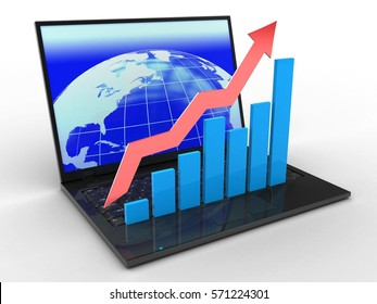 3d illustration of laptop computer over white background with earth screen and rising charts