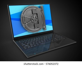 3d illustration of laptop computer over black background with blue screen and vault door