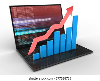 3d illustration of laptop computer over white background with red digital screen and rising charts