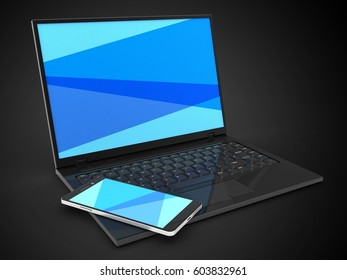 3d illustration of laptop computer over black background with blue screen and smartphone