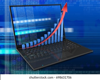 3d illustration of laptop computer over digital background with digital screen and rising graph